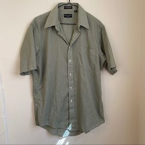 Christian Dior Green Striped Buttoned Blouse Sz 16